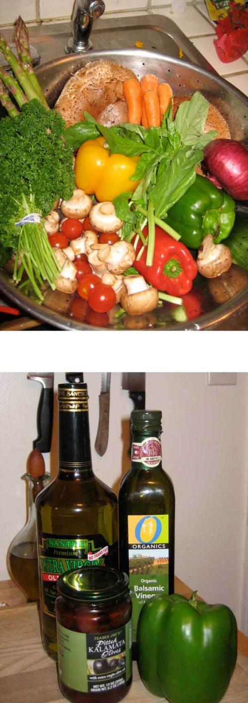 Fresh Veggies, Oil, Vinegar, Olives